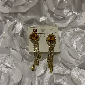 Accessories - Big jeweled  studded post clip on earnings
